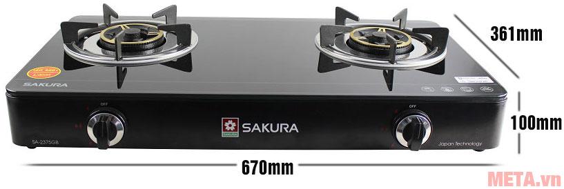 Bếp ga Sakura SA-2375GB với kích thước nhỏ gọn