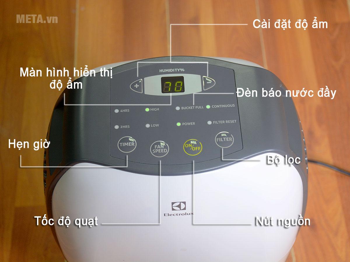 Các chức năng trên bảng điều khiển của máy hút ẩm điện tử Electrolux EDH16SDAW