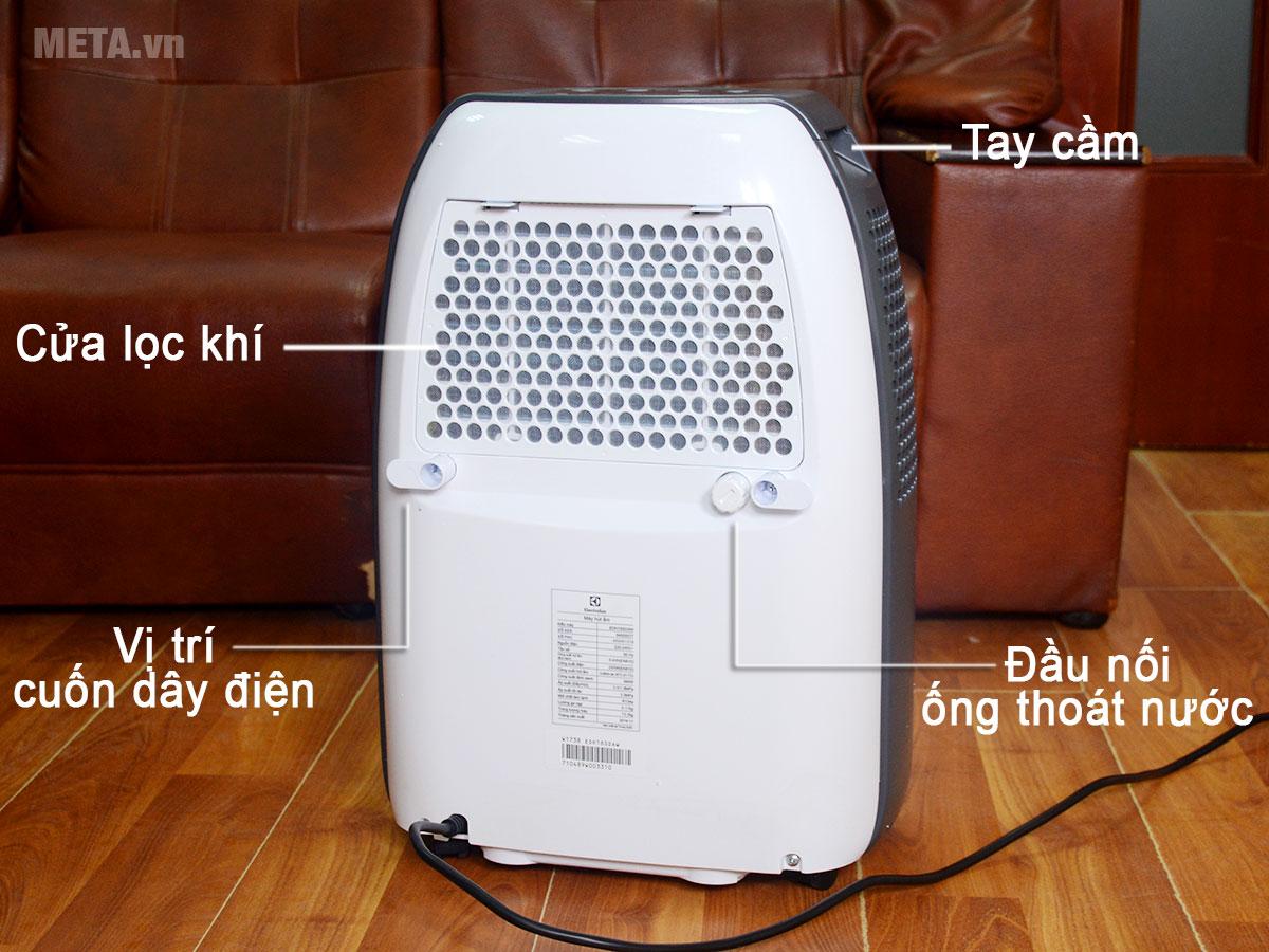 Cấu tạo mặt sau máy hút ẩm điện tử Electrolux EDH16SDAW