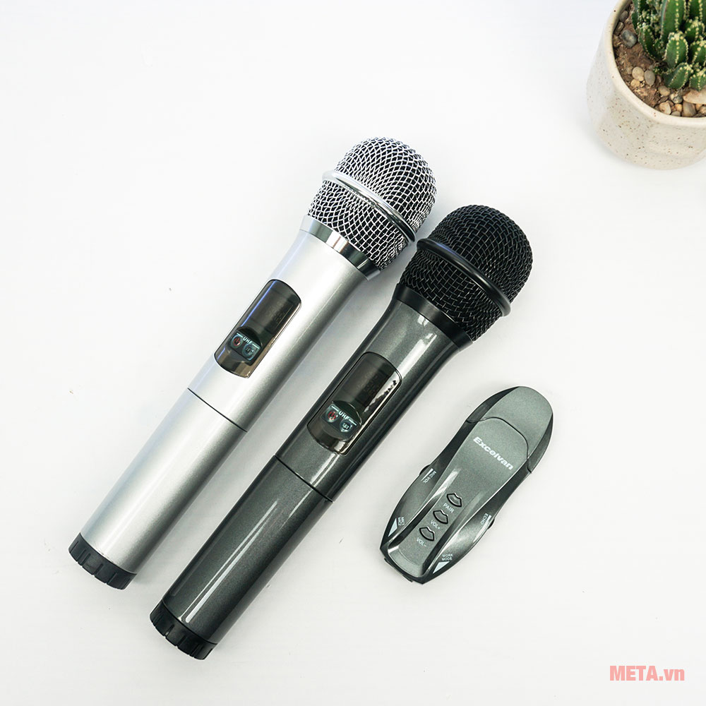 2 micro karaoke Excelvan K18U với 2 màu đen, xám