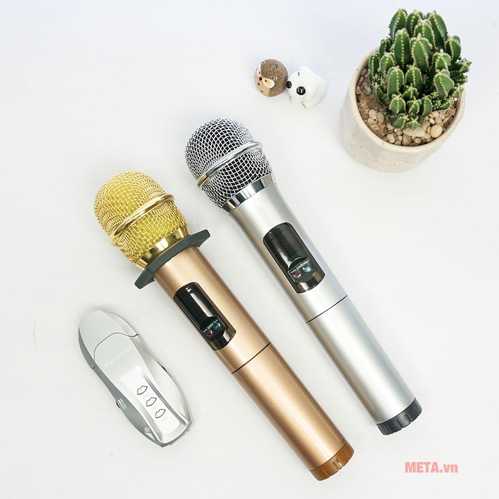 2 micro karaoke Excelvan K18U 2 màu đồng, xám