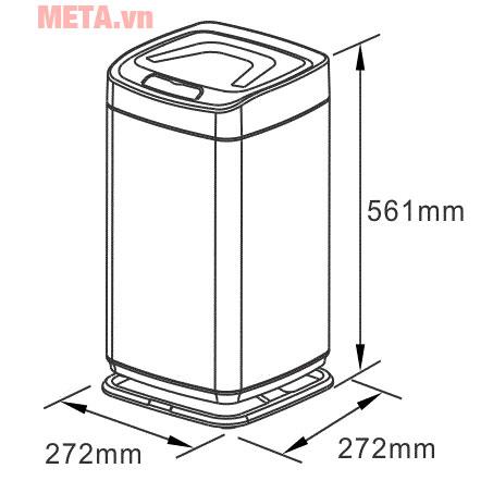 Kích thước thùng rác thông minh Xinda LJT2288B-20L