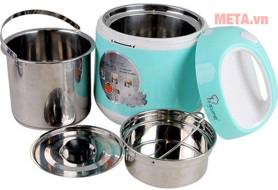 Các bộ phận có thể tách rời để vệ sinh, sử dụng nồi ủ và nồi nấu riêng biệt
