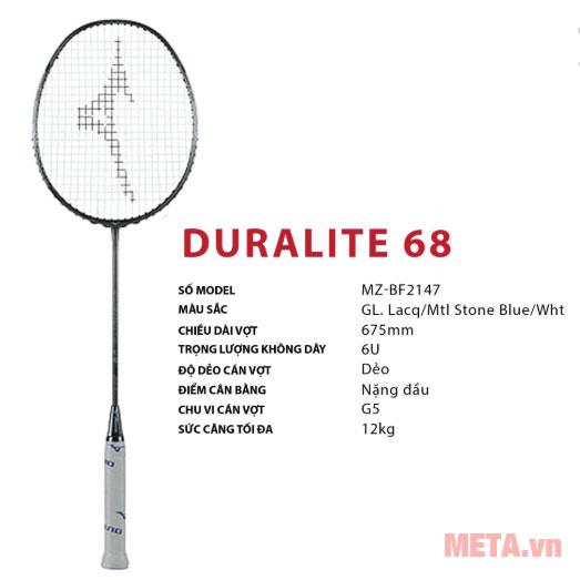 Vợt cầu lông Mizuno DURALITE 68 có độ mềm dẻo cao giúp bạn có thể vung vợt ở mọi hướng