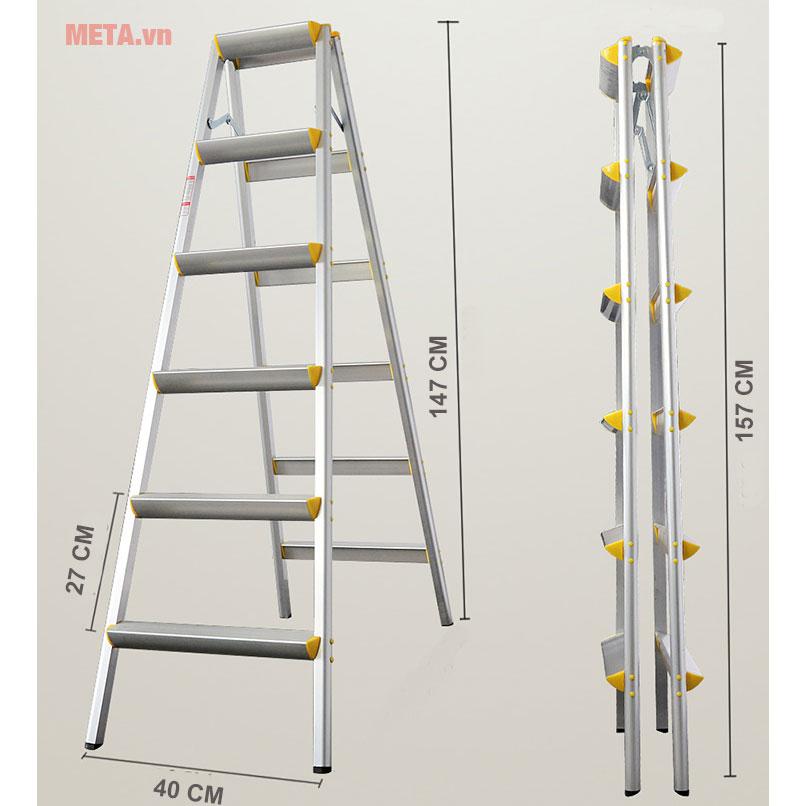 Kích thước của thang nhôm