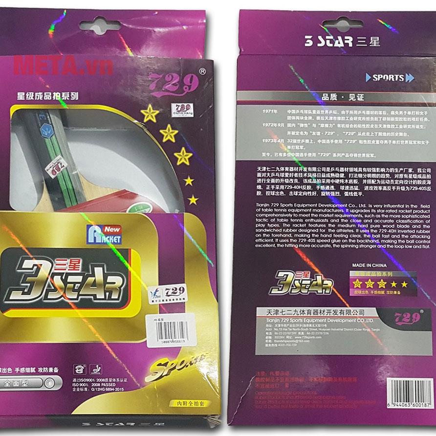 Vỏ hộp bên ngoài của vợt 729 3 sao