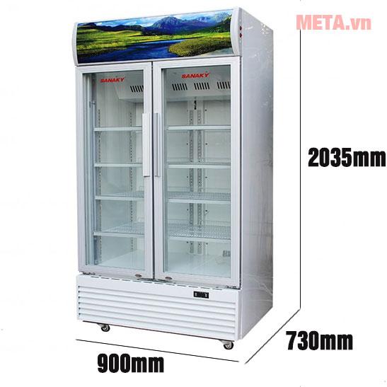 Kích thước tủ mát Sanaky Inverter VH-8009HP