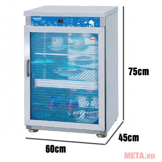 Kích thước tủ tiệt trùng bát đĩa và sấy khô Happys HPS-101C