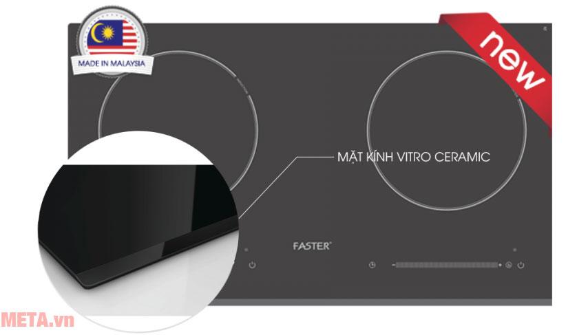 Bếp điện từ Faster FS-782HI sở hữu mặt kính Vitro Ceramic (Kanger) chống xước, chịu lực tốt