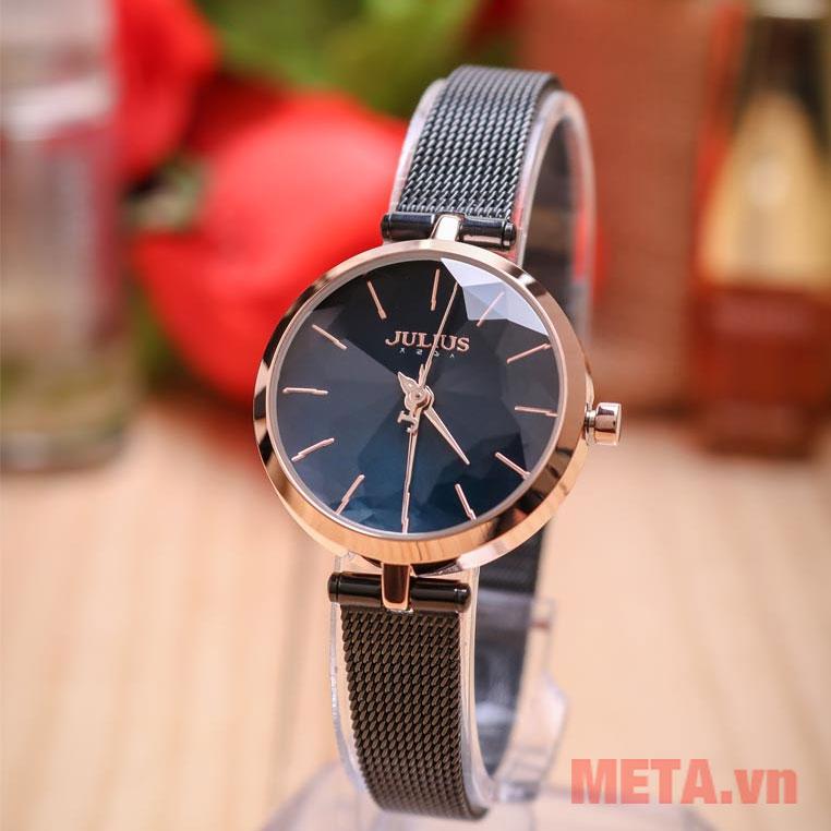Đồng hồ nữ Hàn Quốc dây thép, mặt kính khoáng cao cấp