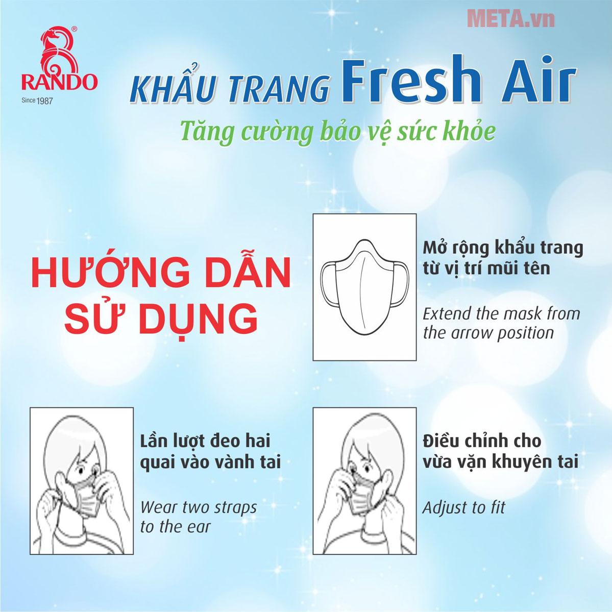 Cách sử dụng khẩu trang Fresh Air Rando trẻ em