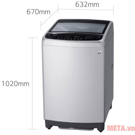 Kích thước máy giặt LG Smart Inverter T2553VS2M