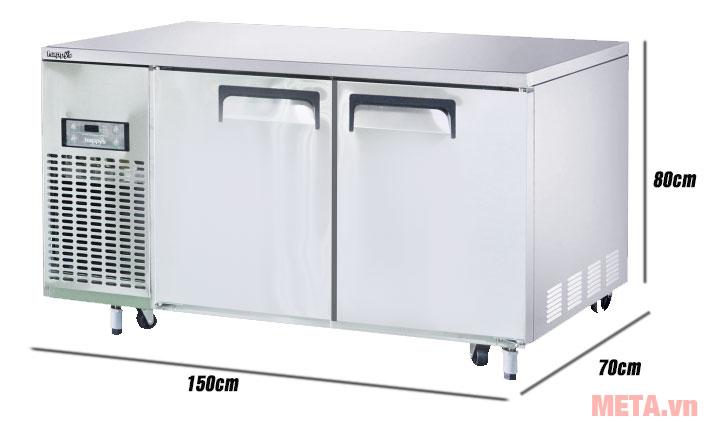 Kích thước bàn mát inox công nghiệp HWA-1500TR