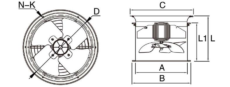Kích thước lắp đặt quạt hút gió nhà xưởng KM60-2S