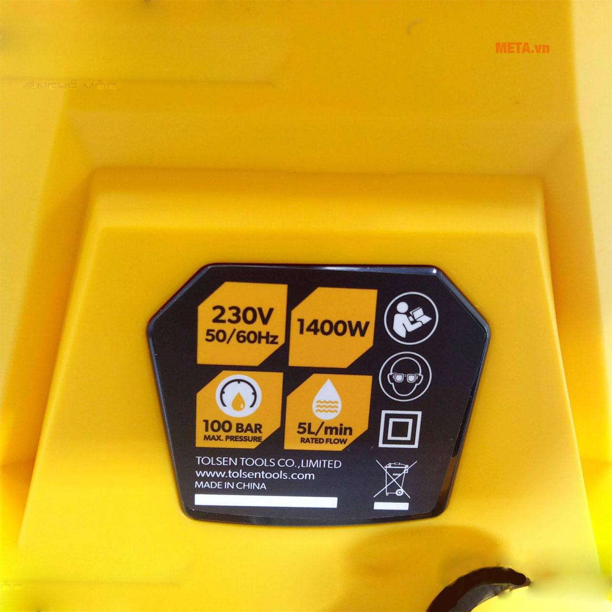 Các thông số của máy rửa xe