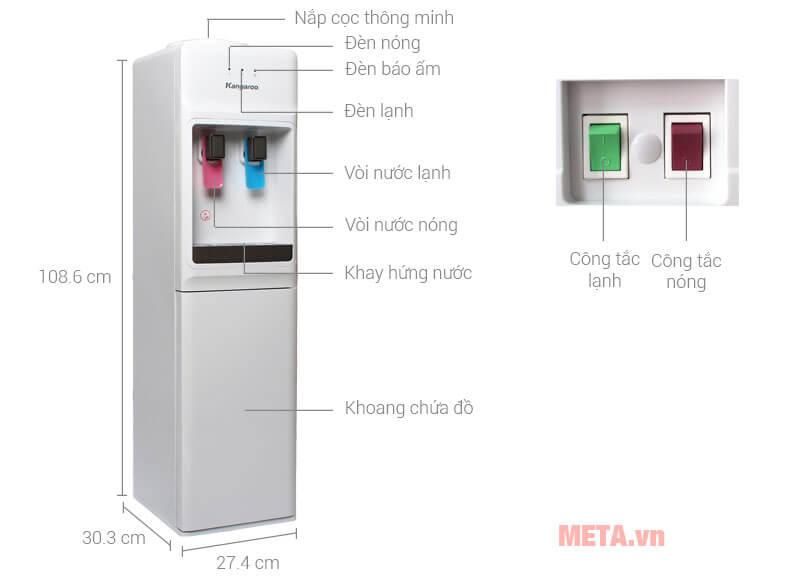 Chi tiết cấu tạo của cây nước nóng lạnh văn phòng
