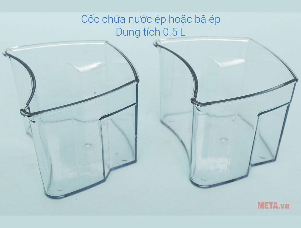 Ca chứa bã và ca chứa nước ép