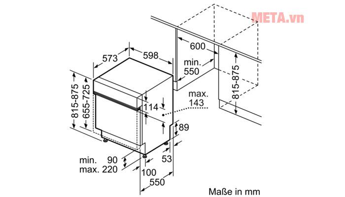 Kích thước lắp đặt của máy rửa bát âm tủ Bosch