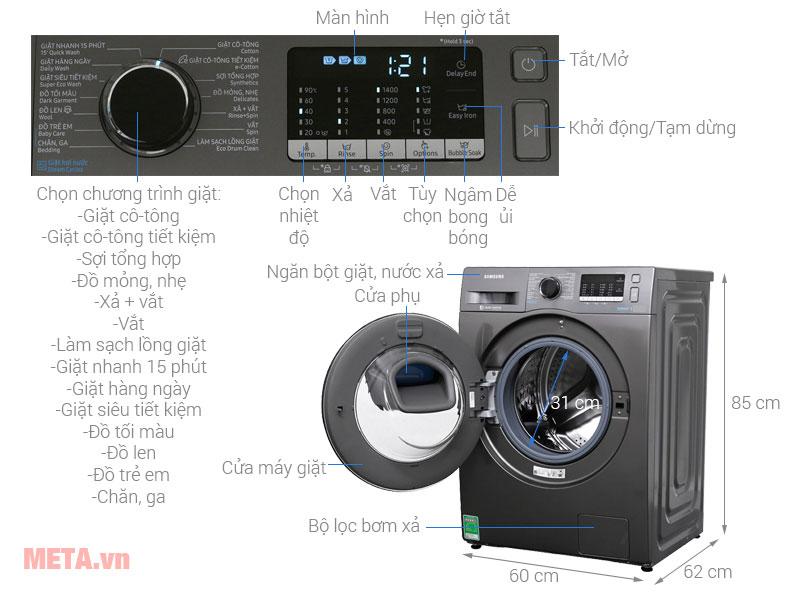 Chi tiết cấu tạo của máy giặt Samsung 9kg