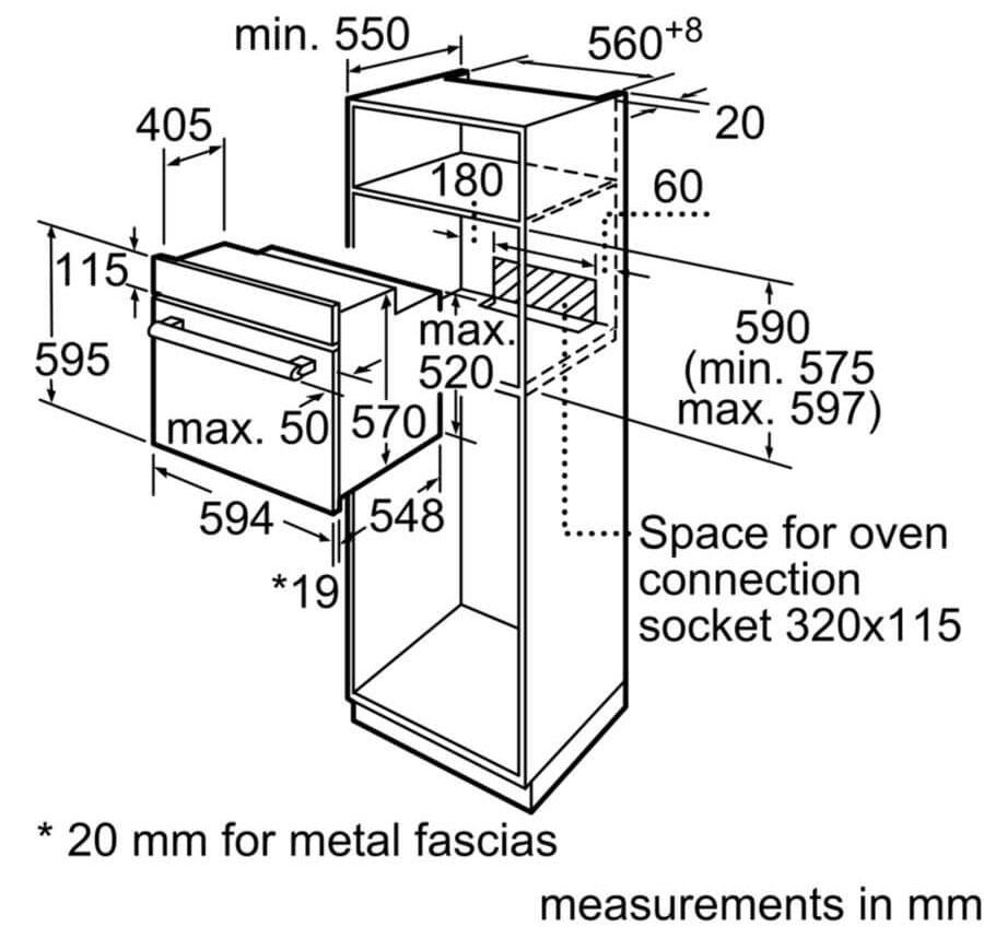 Kích thước lắp đặ lò nướng âm tủ Bosch