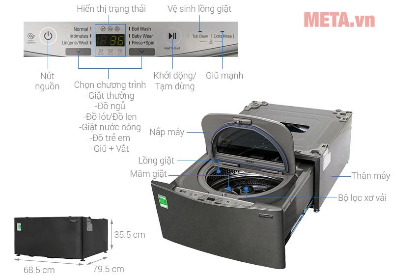 Máy giặt mini LG TWINWash T2735NWLV