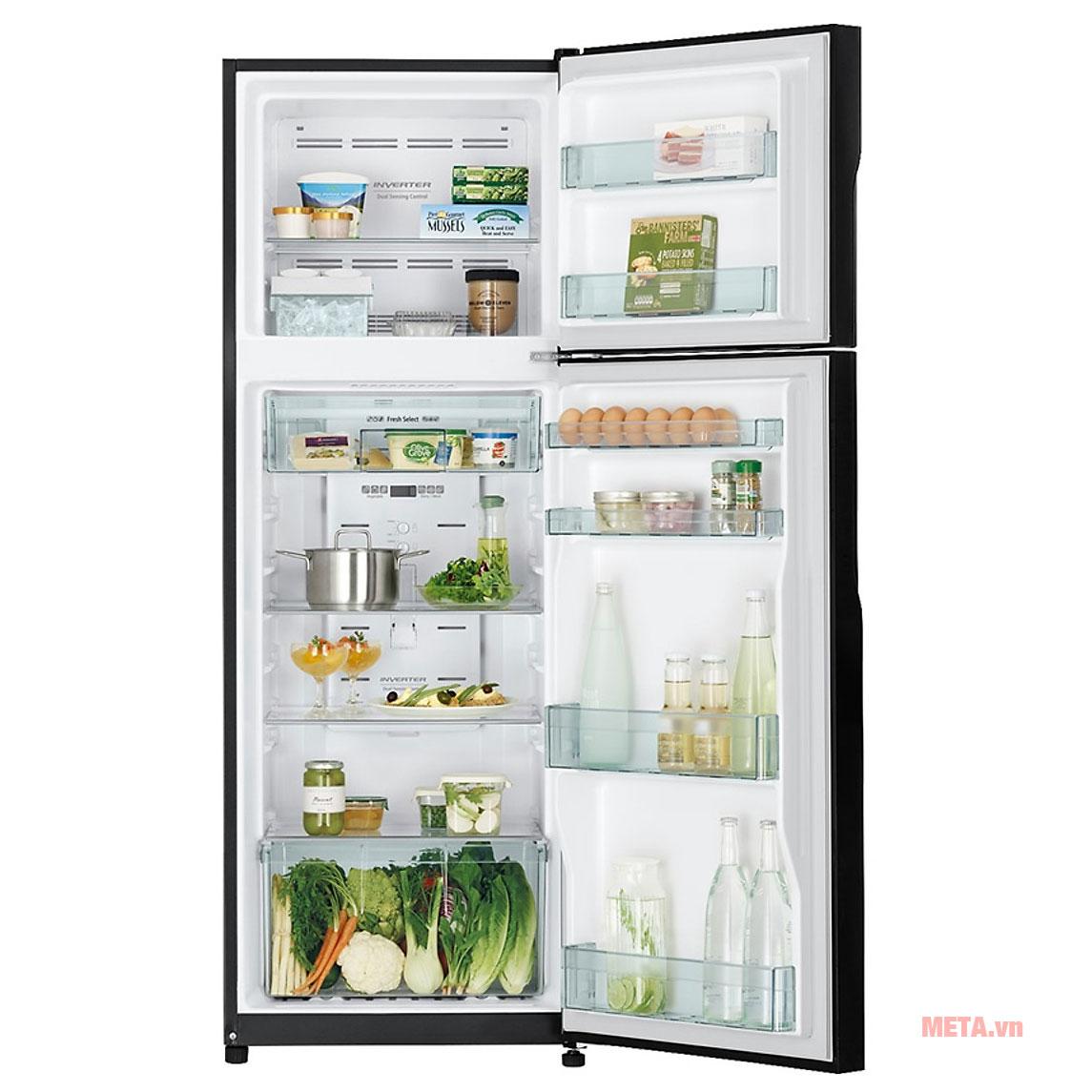 Tủ lạnh Inverter Hitachi R-H310PGV7(BBK) với tổng dung tích 260 lít