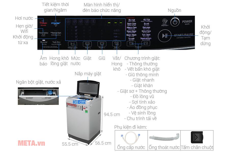 Cấu tạo chi tiết máy giặt lồng đứng LG Inverter TH2112SSAV