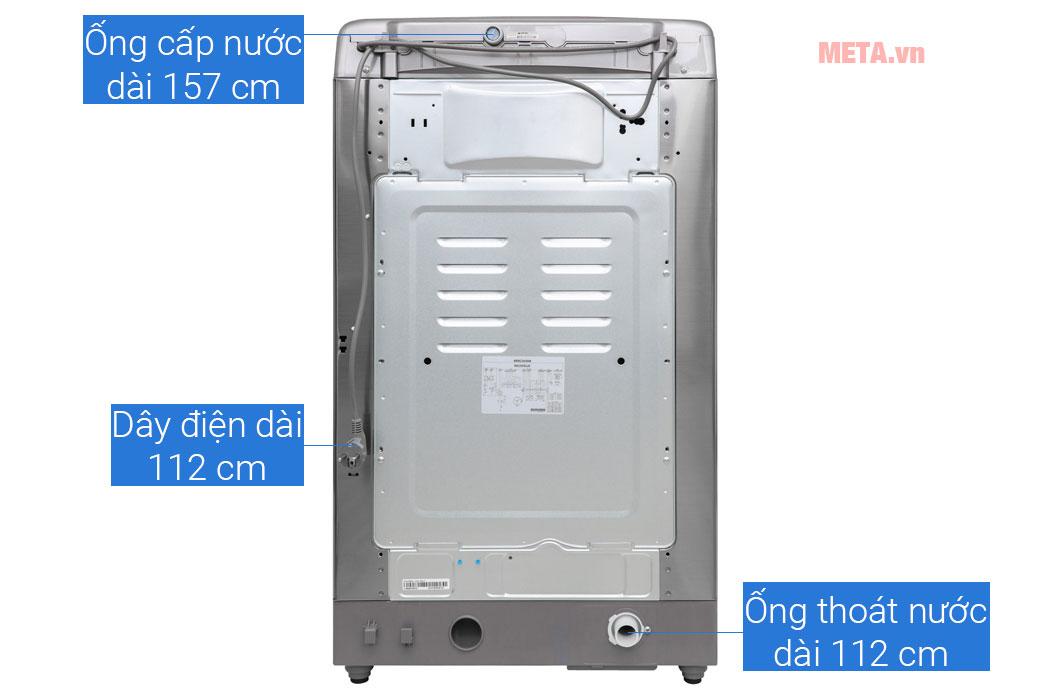Cấu tạo phía sau máy giặt lồng đứng LG Inverter TH2112SSAV