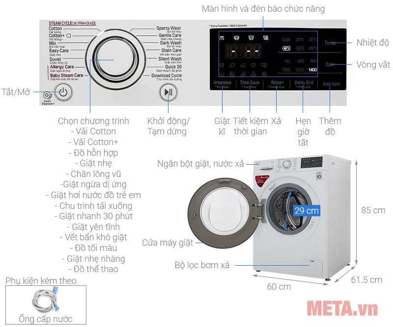 Máy giặt lồng ngang LG FC1408S5W