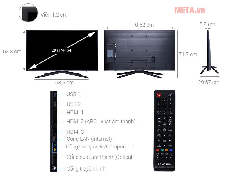 Chi tiết cấu tạo của tivi 49 inch màn hình phẳng Samsung