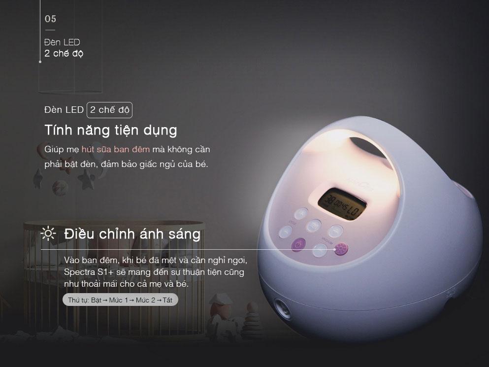 Thao tác sử dụng đèn LED Máy hút sữa Spectra S2+