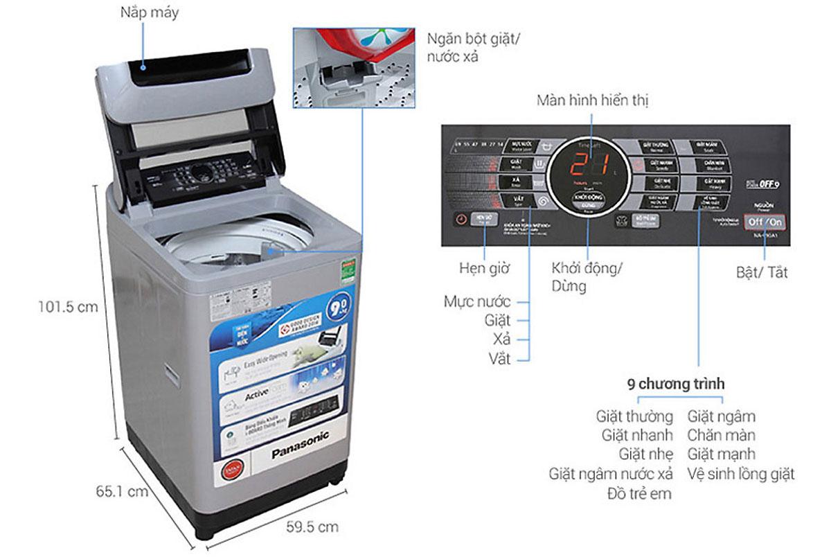 Chi tiết cấu tạo của máy giặt 9kg