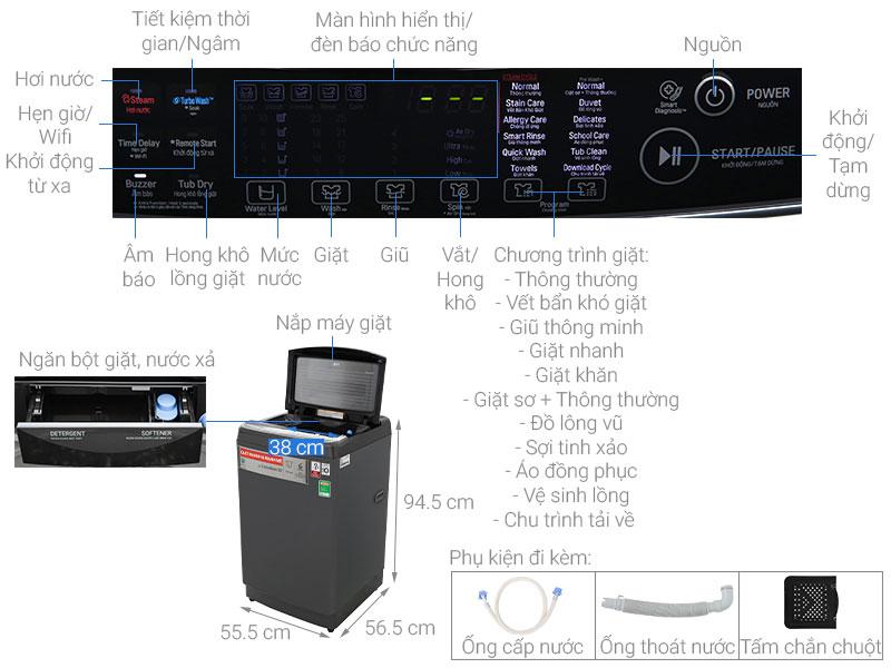 Chi tiết cấu tạo máy giặt lồng đứng cửa trên LG
