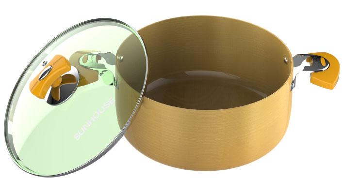 Bộ nồi Anod Sunhouse SHG2703GA có đáy nồi phẳng rộng, hấp thụ nhiệt tốt, truyền nhiệt đều