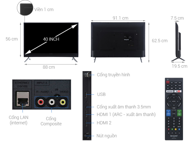 Tivi Sharp LC-40SA5500X