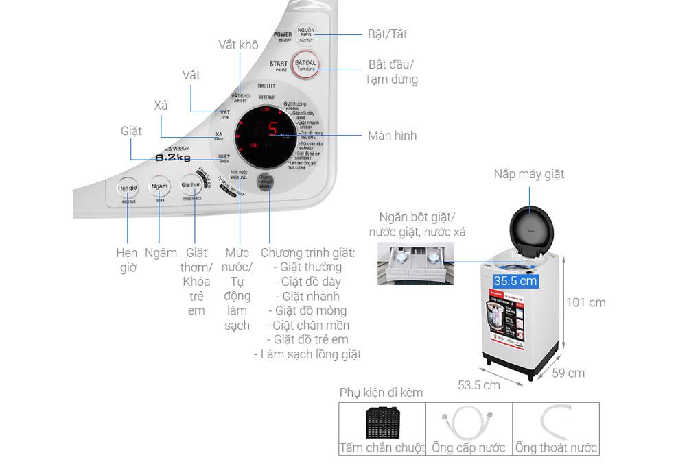 Sharp ES-W82GV-H 8.2kg
