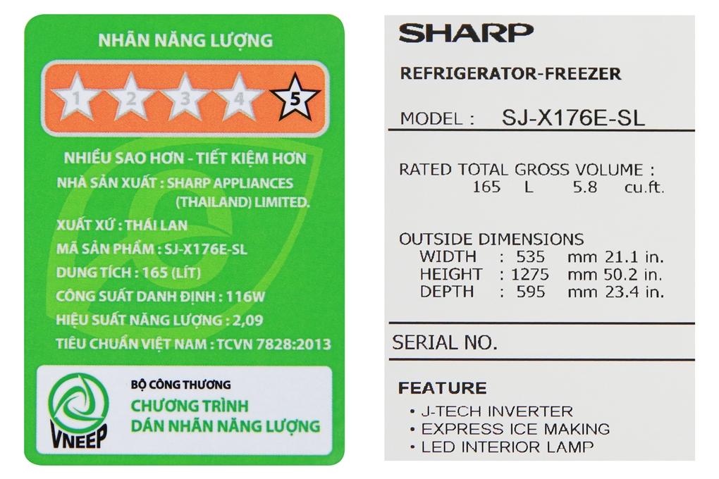 Tủ lạnh SJ-X176E-SL