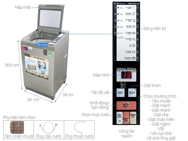 Chi tiết cấu tạo của máy giặt AQW-DK90CT