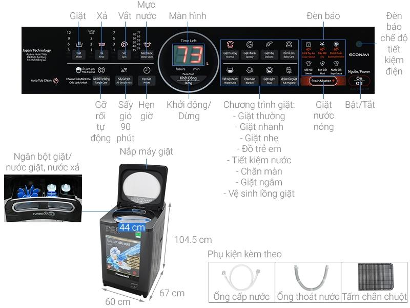 Chi tiết cấu tạo của máy giặt Panasonic NA-FD10VR1BV
