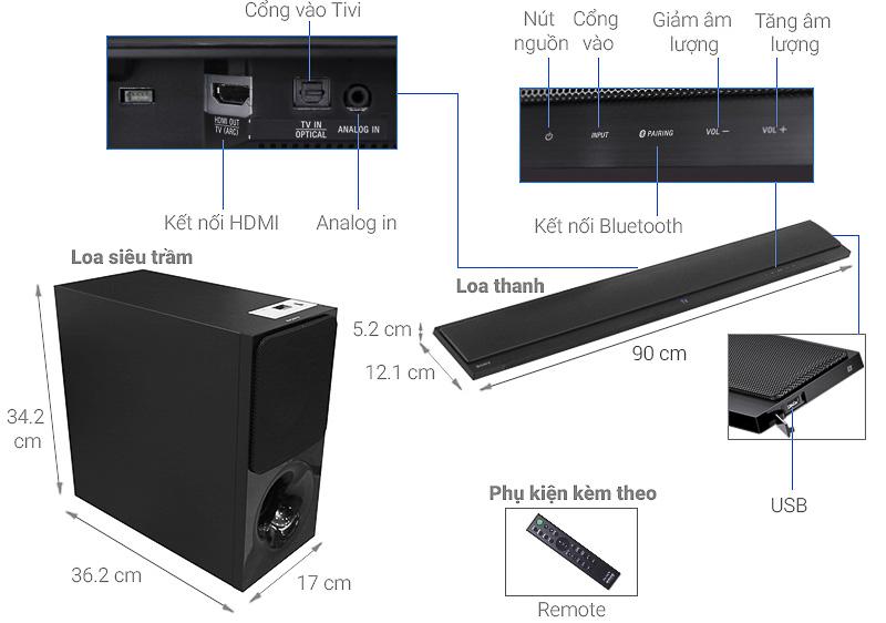 Dàn âm thanh Sony HT-CT390/MSP1