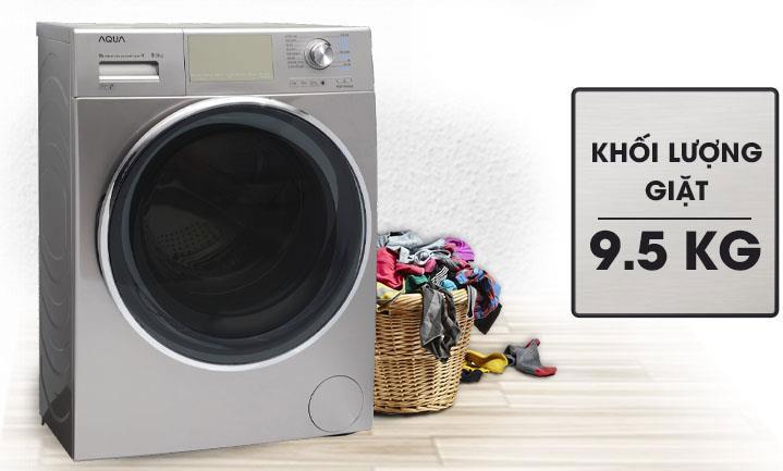 Máy giặt cửa trước AQUA AQD-DD950E.S có khối lượng giặt 9,5kg