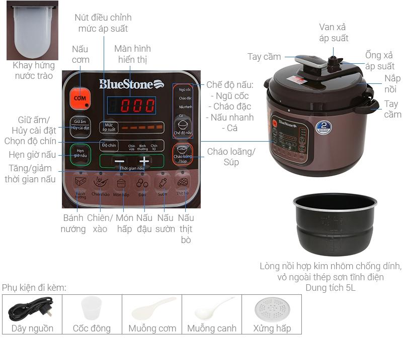 Chi tiết cấu tạo nồi áp suất điện tử Bluestone PCB-5748