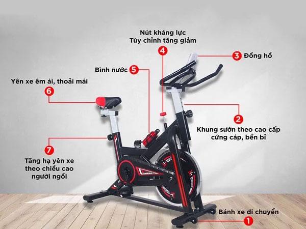 Cấu tạo xe đạp tập thể dục Spin Bike MK207