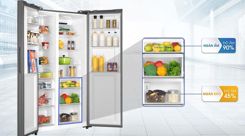 Ngăn ẩm và ngăn khô riêng biệt giúp bảo quản thực phẩm tốt hơn