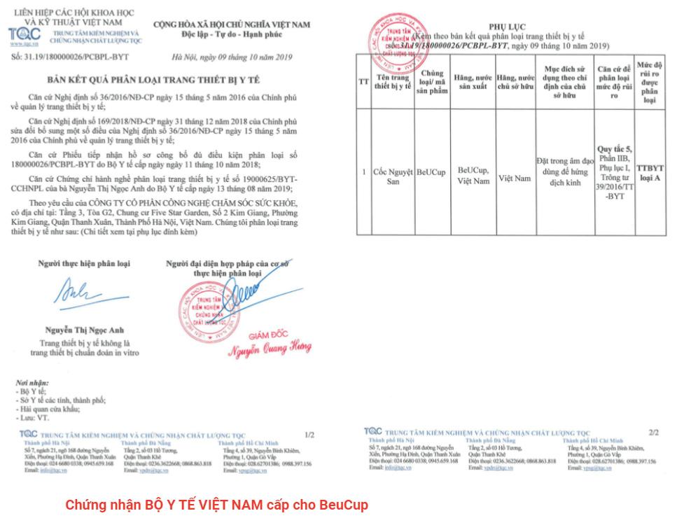 Chứng nhận của Bộ Y tế Việt nam cấp cho BeuCup