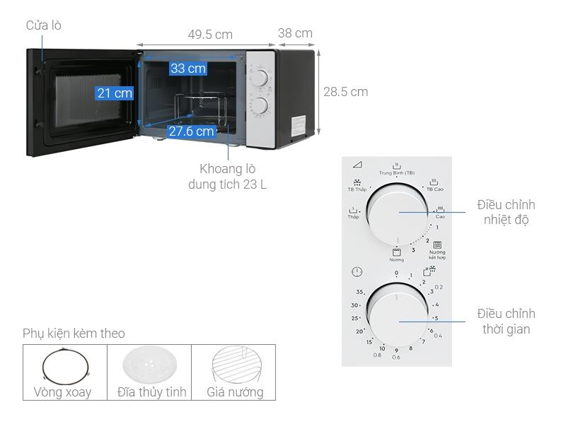 Chi tiết cấu tạo của lò vi sóng Electrolux EMG23K38GB 23 lít