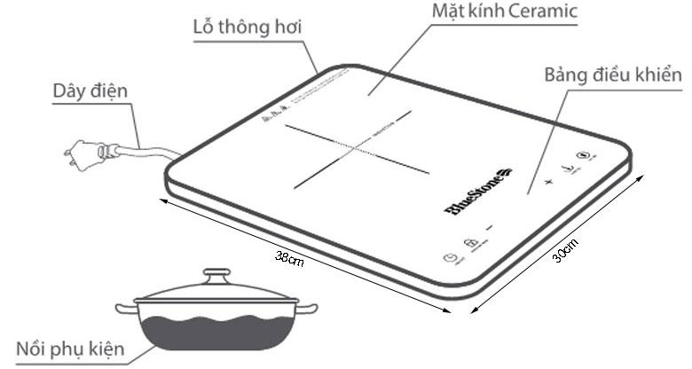 Chi tiết cấu tạo của bếp từ đơn Bluestone ICB-6729