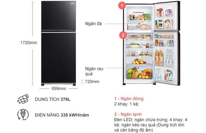Tủ lạnh Mitsubishi MR-FX47EN-GBK-V