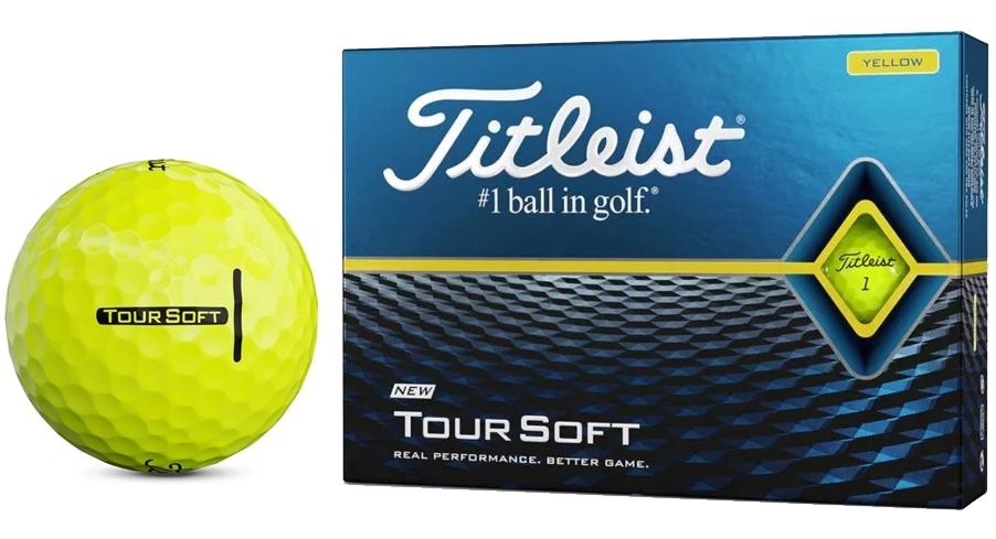 Banh golf Titleist Tour Soft màu vàng