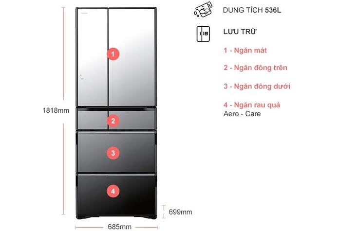 Tủ lạnh Hitachi R-G520GV (X)